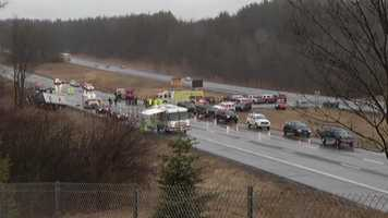 The crash happened shortly before noon Tuesday on Interstate 87 in Saratoga County, about 150 miles north of New York City.