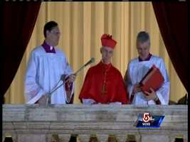 """The senior cardinal reads out the pontifical name in Latin from the main balcony of St. Peter's Basilica as part of the """"Habemus Papam"""" - """"We have a pope"""""""