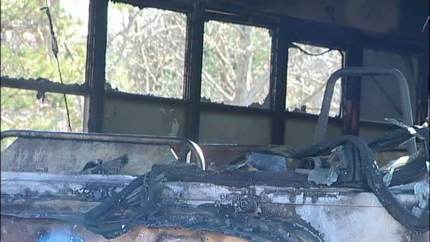 Students and the driver on the bus made it out safely before the bus was destroyed in the fire.