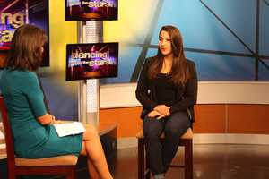 Raisman, who won two gold medals in the 2012 Summer Olympics, stopped by the WCVB-TV studios for an interview with Liz Brunner.