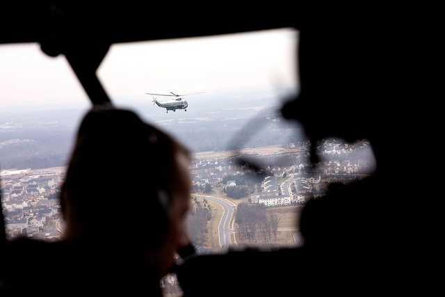 Marine One is seen in flight from Nighthawk Two, as President Barack Obama travels from the White House to Leesburg, Va., Feb. 7, 2013.