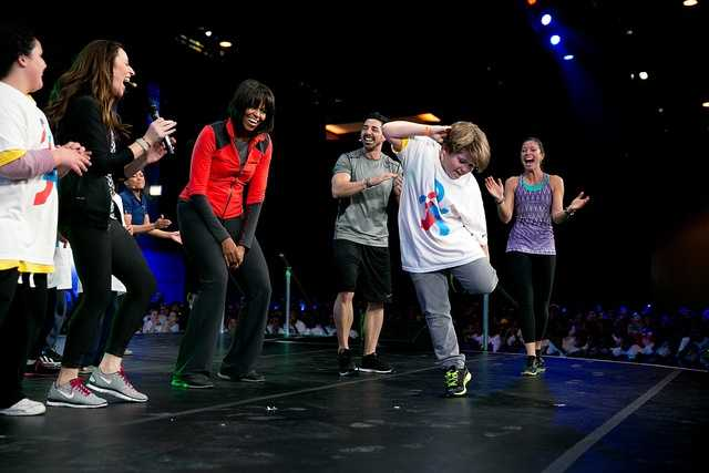 "First Lady Michelle Obama participates in a ""Let's Move! Active Schools"" event with athletes and students at McCormick Place in Chicago, Ill., Feb. 28, 2013."