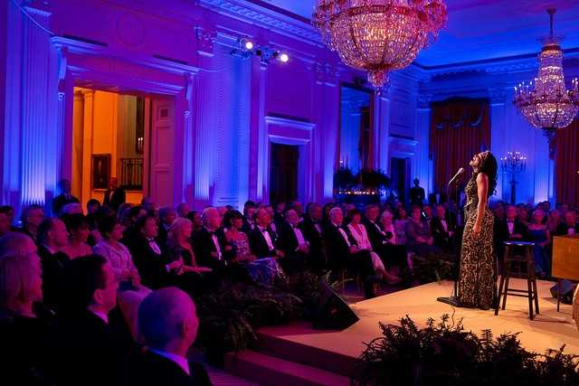 Audra McDonald performs in the East Room of the White House during the National Governors Association Dinner hosted by President Barack Obama and First Lady Michelle Obama, Feb. 24, 2013.