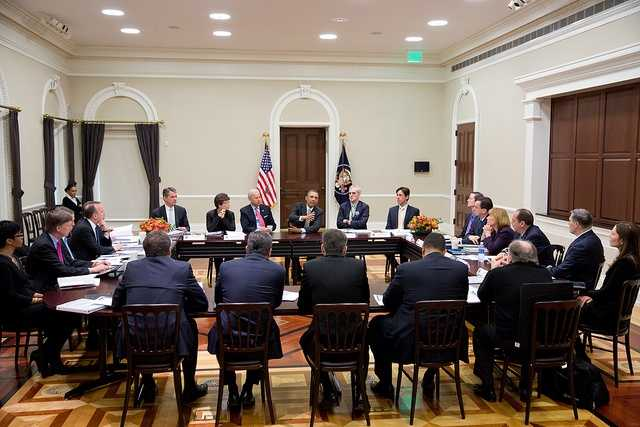 President Barack Obama and Vice President Joe Biden meet with the Democratic Governors Association in the Eisenhower Executive Office Building of the White House, Feb. 22, 2013.