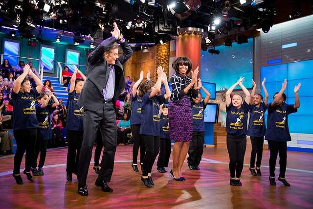 "First Lady Michelle Obama and Dr. Mehmet Oz learn a dance routine with members of the Terence C. Reilly School No. 7 dance group during a taping of the ""Dr. Oz Show"" at the 30 Rock Studios in New York, N.Y., Feb. 22, 2013."
