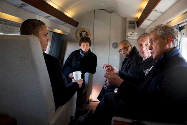 President Barack Obama listens to Chicago Mayor Rahm Emanuel aboard Marine One during the flight from Chicago O'Hare International Airport to the Burnham Park landing zone in Chicago, Ill., Feb. 15, 2013. Joining them, from left, are: Senior Advisor Valerie Jarrett&#x3B; Rep. Bobby Rush, D-Ill.&#x3B; and Sen. Dick Durbin, D-Ill.