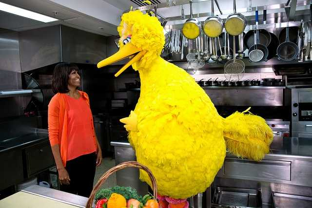 "First Lady Michelle Obama participates in a ""Let's Move!"" and ""Sesame Street"" public service announcement taping with Big Bird in the White House Kitchen, Feb. 13, 2013."