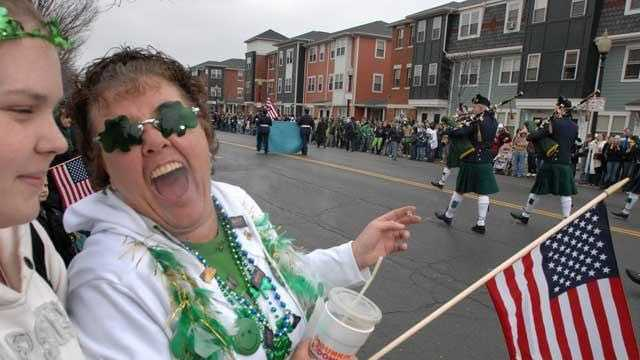 Maureen Joyce, of South Boston, right, talks to her niece Frances Keough, left, during, the St. Patrick's Day Parade in South Boston, Sunday, March 16, 2008.