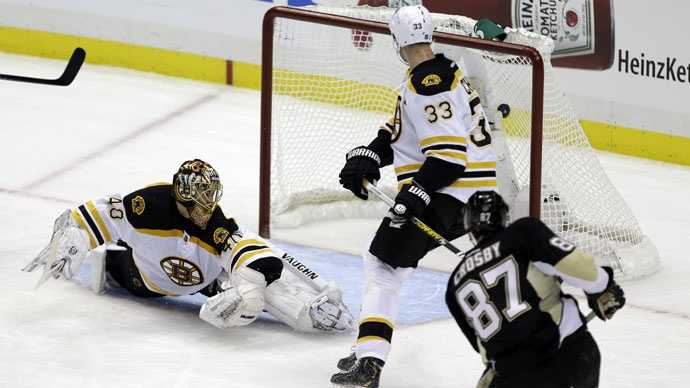 Pittsburgh Penguins center Sidney Crosby (87) gets the puck behind Boston Bruins goalie Tuukka Rask (40) and Bruins defenseman Zdeno Chara (33) for a goal during the first period of an NHL hockey game in Pittsburgh, Sunday, March 17, 2013.