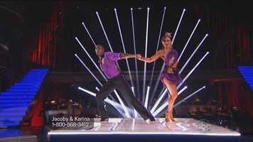 "NFL star Jacoby Jones & Karina Smirnoff perform the Cha-Cha-Cha to ""Good Feeling"" by Flo Rida"