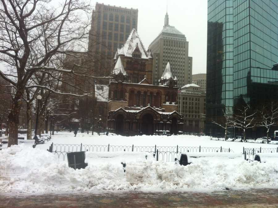 Snow covers Boston's Copley Square on Tuesday.