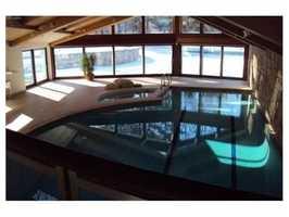Sunlight fills the pool house.