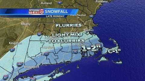 Sunday AM snow map