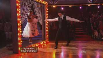 Soap opera star Ingo Rademacher and his professional partner Kym Johnson were first up this week. They performed the quickstep.