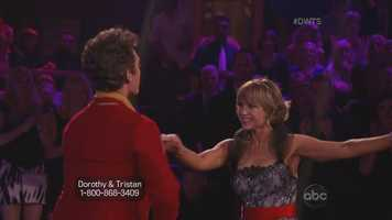 Olympic figure skater Dorothy Hamill and her partner Tristan MacManus performed the jive.