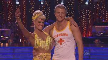 The Bachelor star Sean Lowe danced the jive with his professional dance partner Peta Murgatroyd.