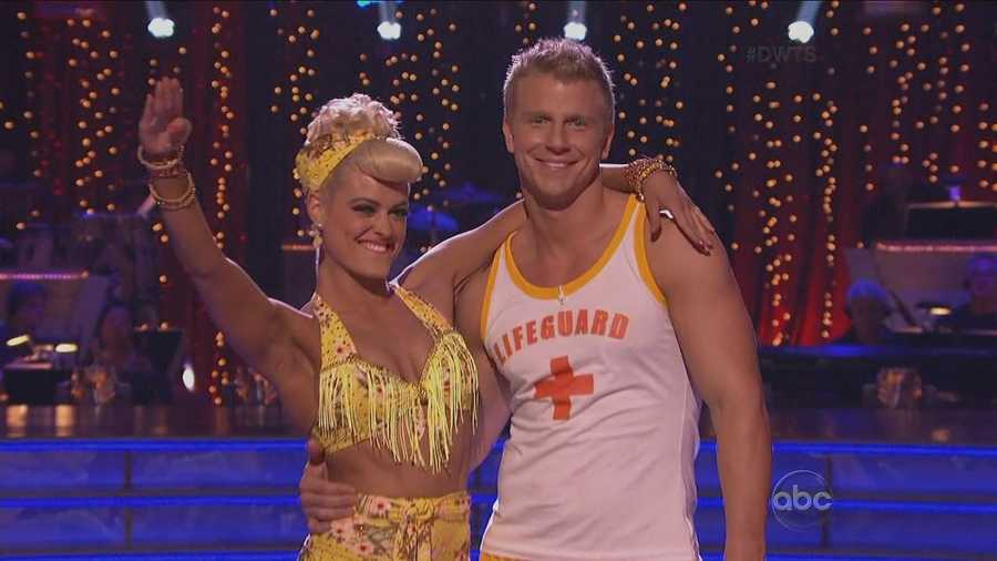 The Bachelor star Sean Lowe danced the jive with his professional dance partner Peta Murgatroyd.