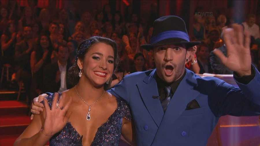 Olympic gymnast Alexandra Raisman performed the quickstep with her professional dance partner Mark Ballas.