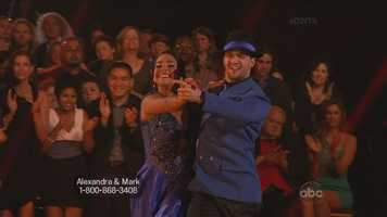 """Carrie Ann: """"Best quickstep of the night. You are really bringing the ballroom style into your routine."""" Len: """"It was terrific. Well done!"""""""