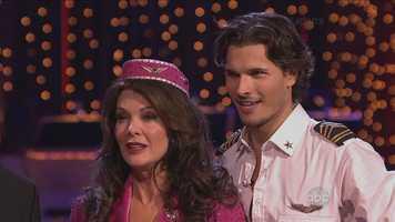 Reality television star Lisa Vanderpump and her professional dance partner Gleb Savchenko performed the jive.