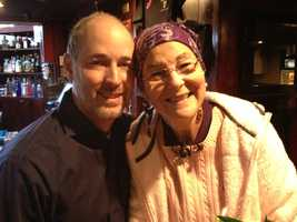 A woman who had been diagnosed with acute myeloid leukemia met the anonymous donor who had helped save her life Tuesday.