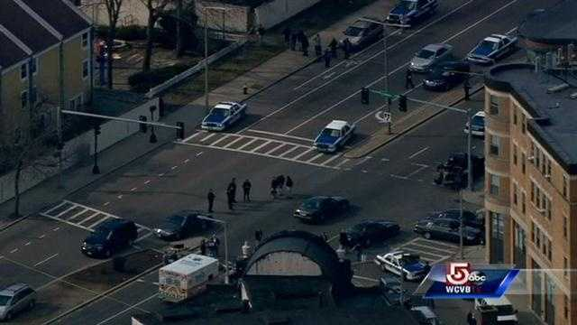No one was seriously injured Tuesday when an officer fired his gun in the area of Warren and Waverly streets, according to Boston police.