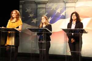 WCVB-TV interns play the parts of the candidates during a rehearsal for the debate.