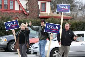 Supporters of Democratic candidate Stephen Lynch on the streets before the debate.