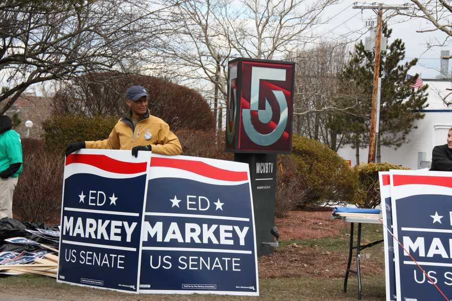 Markey supporters gather outside the WCVB-TV studios prior to the debate.