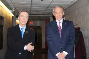 Democratic candidates Stephen Lynch and Edward Markey wait for their portion of the debate.