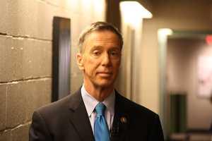 Congressman Stephen Lynch waits to go into the studio.