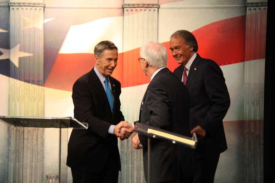 Congressmen Lynch and Markey thank moderator R.D. Sahl after the debate.
