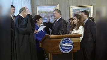 Menino is sworn in as Mayor of Boston in 1993