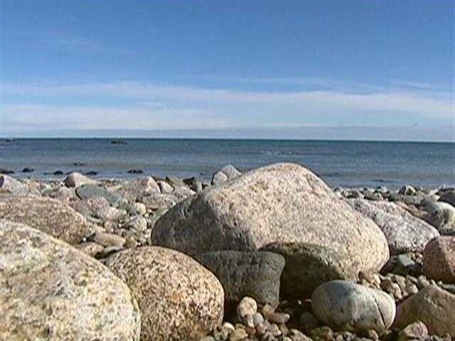 The soft sand scoured away, exposing a cobbled, rocky beach.