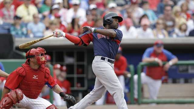 Boston Red Sox Jackie Bradley Jr. bats in a spring training baseball game in Clearwater, Fla., Sunday, March 24, 2013.