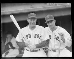 Boston Red Sox Rudy York (L) and Bobby Doerr (R) on the dugout steps at Fenway Park for the 1946 World Series.
