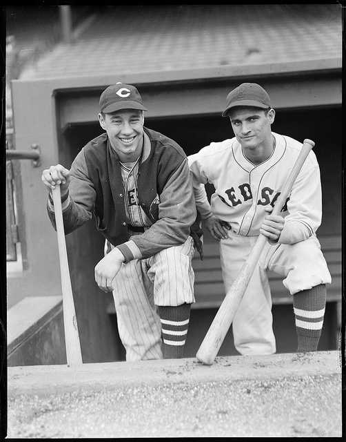 Cleveland Indians pitcher Bob Feller and Boston Red Sox second baseman Bobby Doerr in 1937.