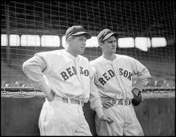 (L to R:) Boston Red Sox first baseman Jimmie Foxx and Boston Red Sox Bobby Doerr at Fenway Park.