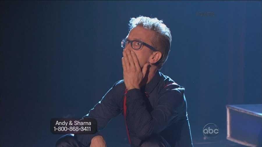 "Andy Dick and Sharna Burgess danced Cha Cha Cha to ""Da Ya Think I'm Sexy?"" by Rod Stewart"