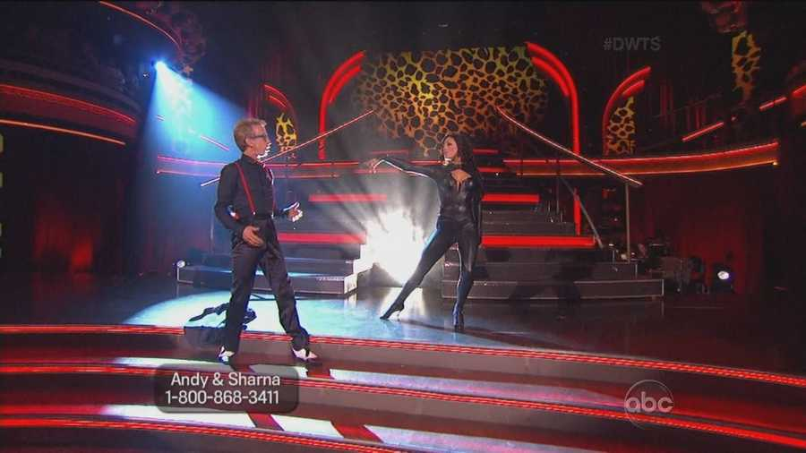 Not quite sure the dance seemed like something from the prom. Sharna was wearing an outfit that looked like a catsuit.