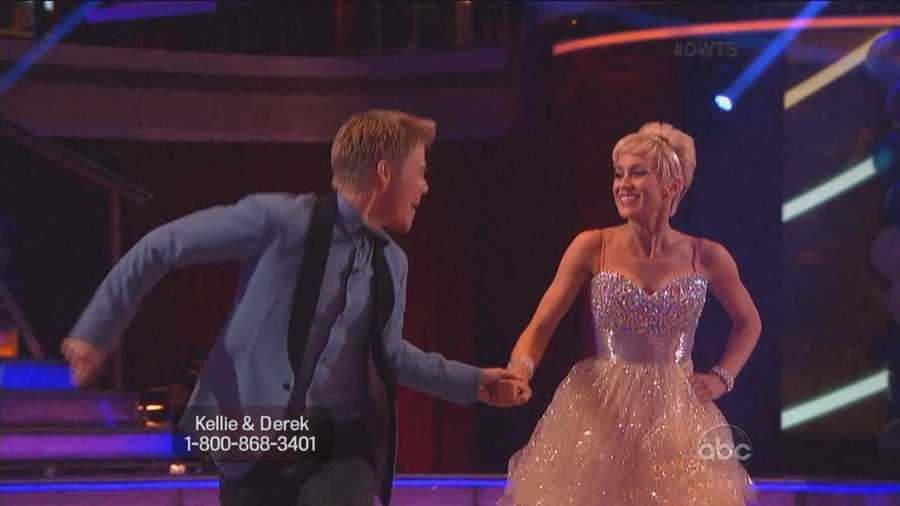 """The performance featured one of the more daring entrance in """"Dancing"""" history. Derek Hough slid down a bannister to get to the floor."""
