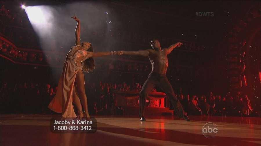 Jacoby Jones and Karina Smirnoff performed the rumba.