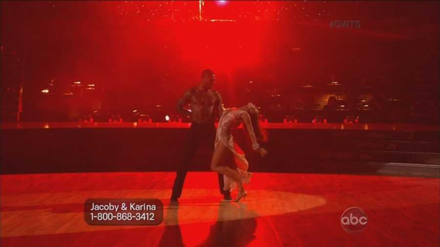 The NFL player's sultry rumba brought cheers from the ballroom audience and approval from the judges.