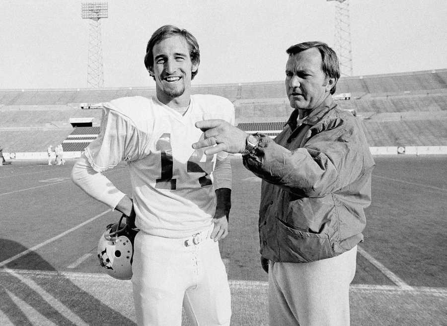 Chuck Fairbanks coached the New England Patriots from 1973 to 1978. Before coaching on the professional level, Fairbanks, seen in the photo with quarterback Steve Grogan, coached the Oklahoma Sooners from 1967-72. (June 10, 1933 - April 2, 2013)