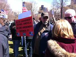 Several hundred Massachusetts gun owners braved brisk winds and cold temperatures on Boston Common Wednesday in a show of support for the Second Amendment.