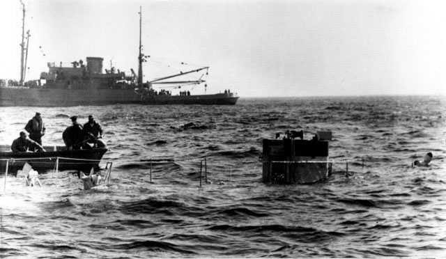 The Navy's Bathyscaph Trieste, breaks the surface of the Atlantic Ocean May 5, 1963. The Trieste was to be used to photograph the lost submarine Thresher.
