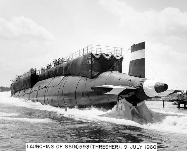 """The first sign of trouble for the USS Thresher was a garbled message about a """"minor difficulty"""" after the nuclear-powered submarine descended to about 1,000 feet on what was supposed to be a routine test dive off Cape Cod."""