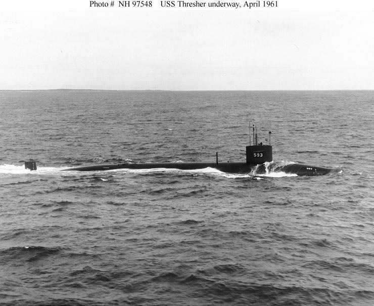 Starboard broadside view, taken while the submarine was underway on 30 April 1961.