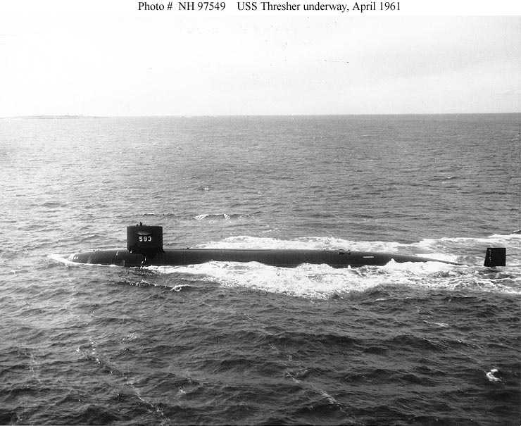 Port broadside view, taken while the submarine was underway on 30 April 1961.