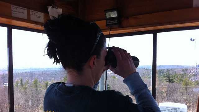 Tracey Bagdasarian of the Bureau of Forest Fire Control looks out for potential brush fires at the Sudbury Fire Tower.